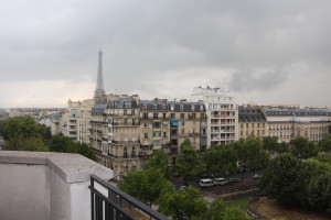 Photo of the Eiffel Tower taken from our balcony on the day we moved back to the U.S.